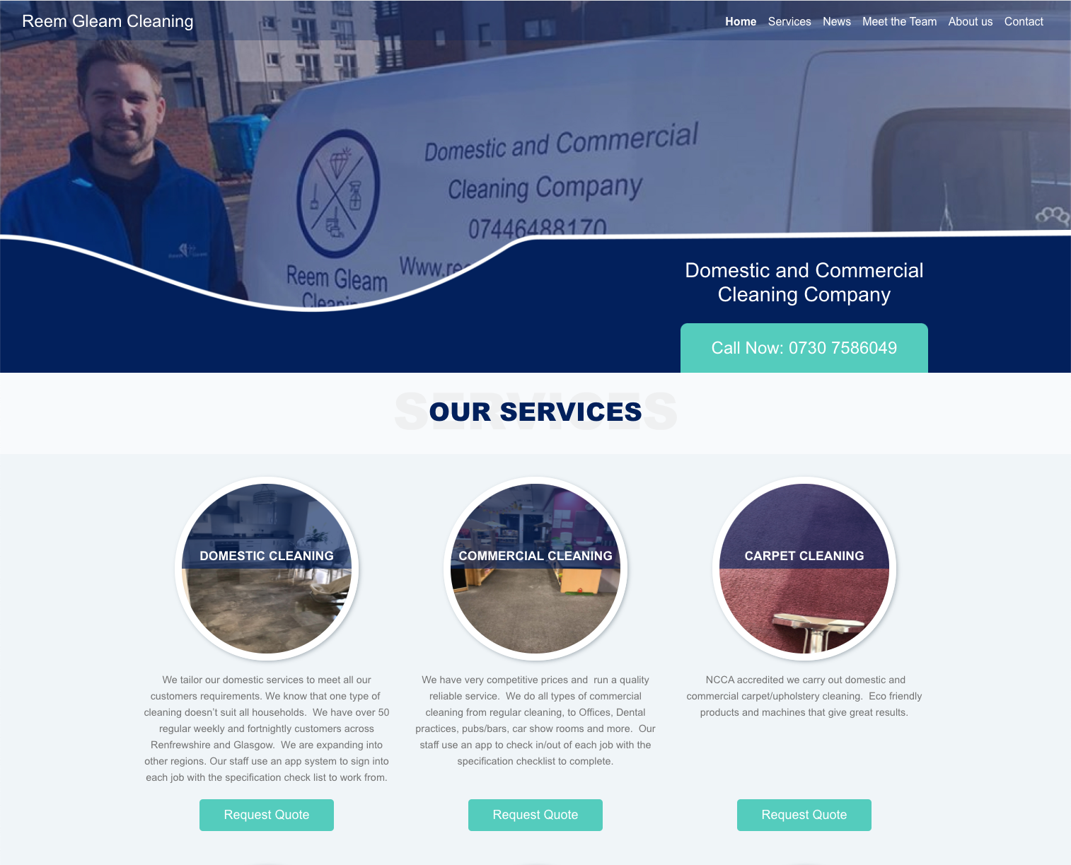 Web Design Kent | reemgleamcleaning.com
